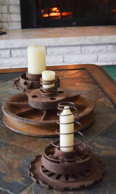 Centerpiece made from repurposed farm equipment. Tons of great ideas in this post!