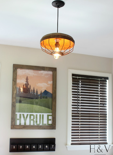 Cute light made from repurposed farm equipment. Tons of great ideas in this post!