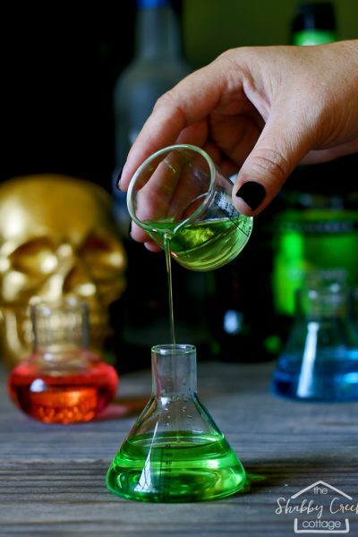 This Halloween cocktail recipe looks so good - and you can make it in different flavors. And I need those beaker shot glasses so I can be all legit when I make the Stumbling Scientist!
