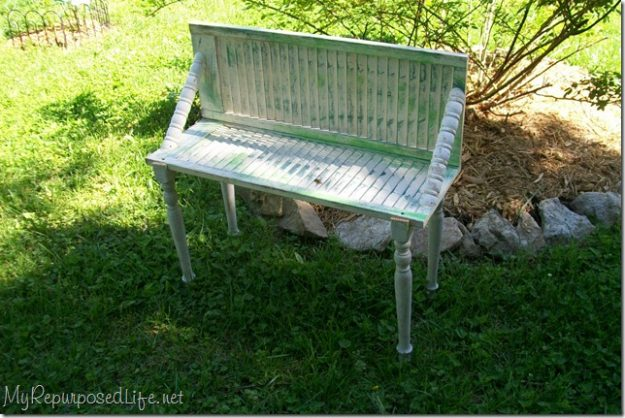 Bench made from old shutters - this is pretty awesome!
