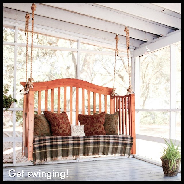 Swing made from an old crib - love this idea and all the other great ideas in this post, too!