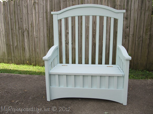 Bench made from an old crib - love this idea and all the other great ideas in this post, too!