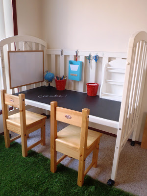 Kid's desk made from an old crib - love this idea and all the other great ideas in this post, too!