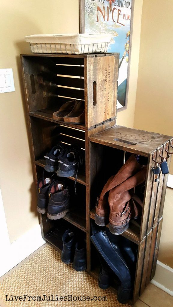 Need extra space for shoes? Turn some wood crates into a shoe rack ...