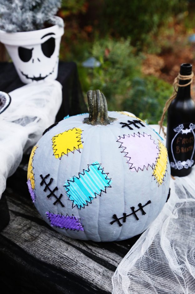 Sally patchwork pumpkin = so many great disney inspired pumpkin ideas in that blog post. I love the Star wars ones, too!
