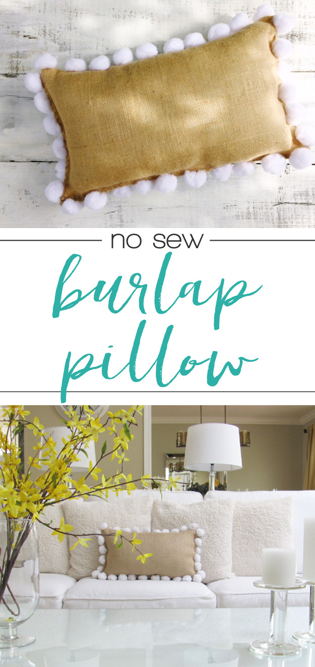 Easy no-sew burlap pillow - this idea is genius!