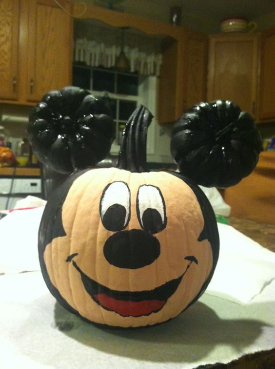 Disney inspired pumpkins to celebrate your favorite film for How to paint a mickey mouse pumpkin