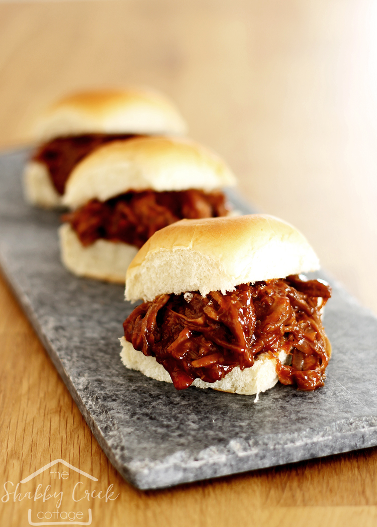 Crock Pot BBQ sliders with homemade BBQ sauce.... these look SO good!