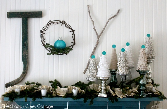 Christmas Mantle By The Shabby Creek Cottage