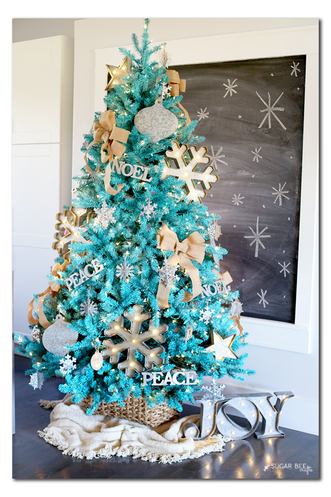 PAINTED Christmas tree - lots of great Christmas tree decorating ideas on this blog.