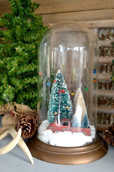 Christmas cloche from a thrift store clock