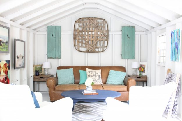 Pretty she-shed painted Nebulous by Sherwin Williams