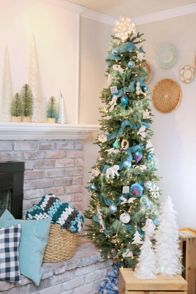 Christmas tree decorating ideas: use a slim tree for tight spaces