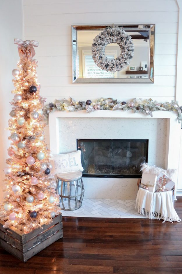 beautiful rose gold tree tons of christmas tree decorating ideas on this blog - Slim Christmas Tree Decorating Ideas