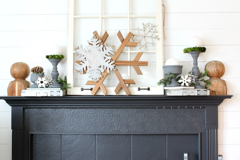 Amazing Winter Themed Thrifted Mantle