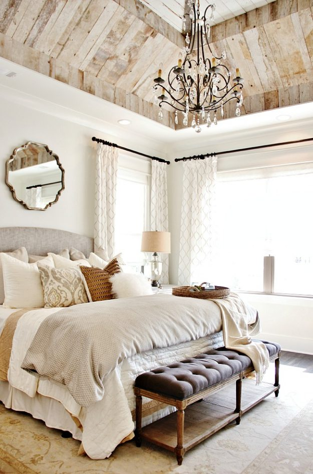 dreamy barnwood ceiling design in a bedroom
