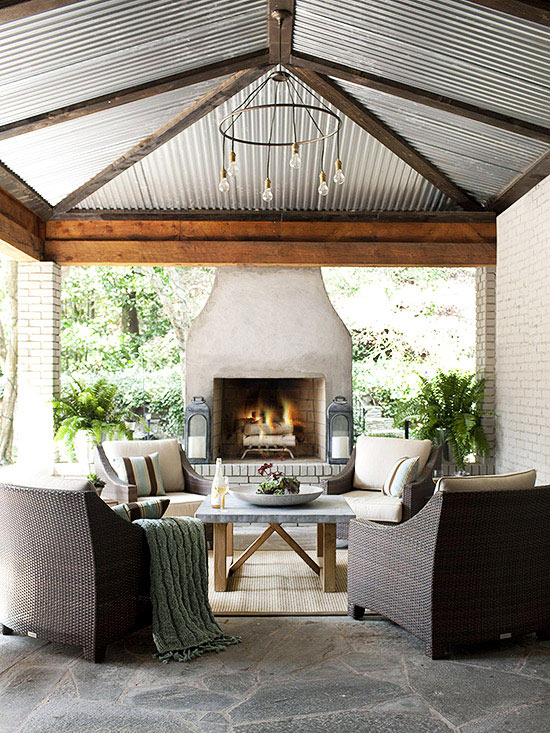 gorgeous metal ceiling design in an outdoor area