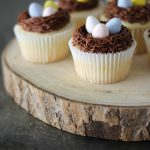 Cute nest cupcakes with chocolate cream cheese frosting - perfect for spring!