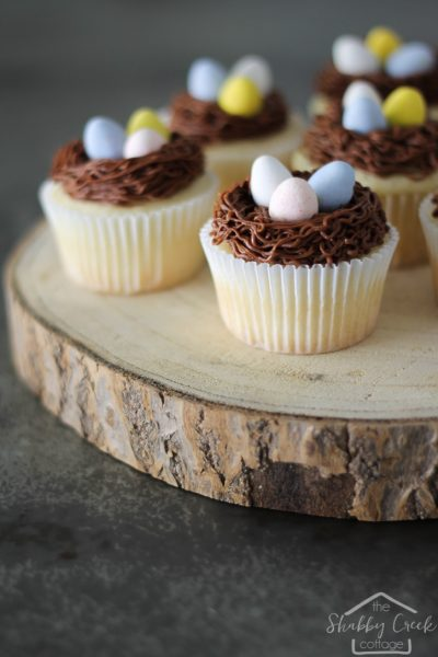Spring Nest Cupcakes + Chocolate Cream Cheese Frosting