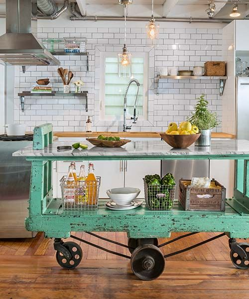 Gorgeous kitchen island made from an old cart