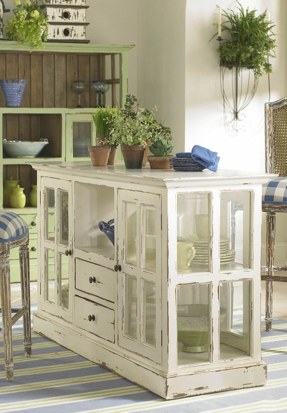 Kitchen Island made from old windows