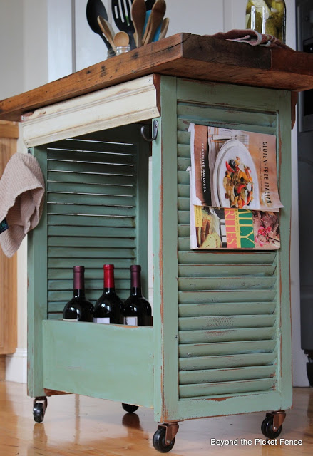 Fun Kitchen Island Idea Made From Old Shutters