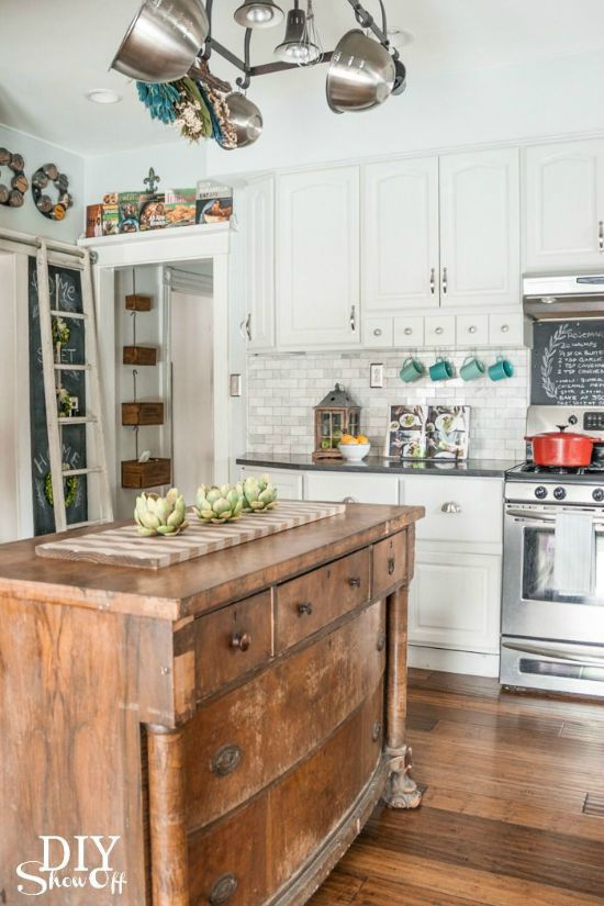 Repurposed chest of drawers as a kitchen island