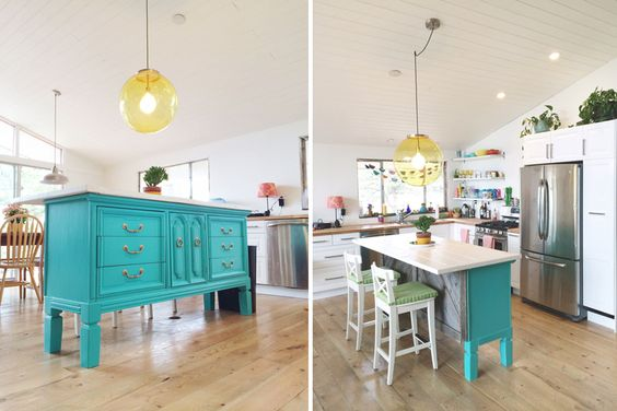 gorgeous kitchen island made from an old dresser