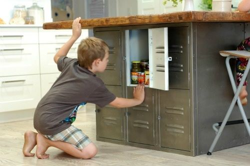kitchen island made from old lockers