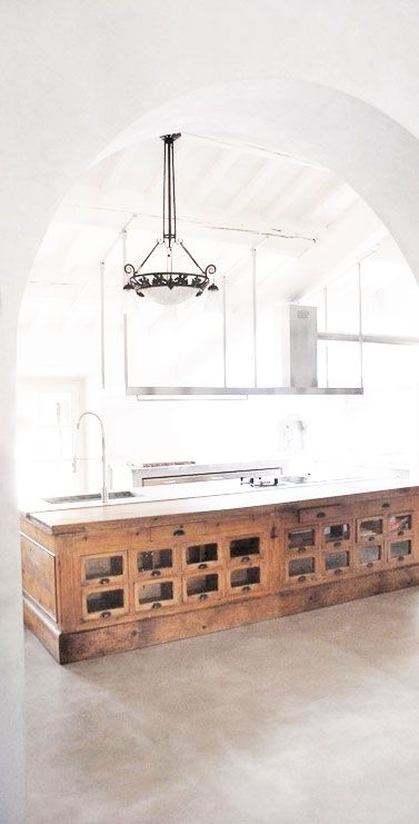 reclaimed counters used as a kitchen island
