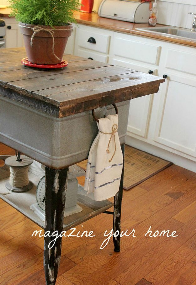 DIY kitchen island made from a washtub
