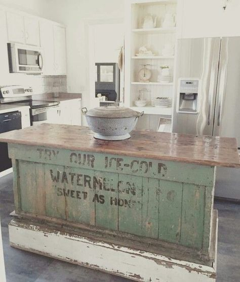 Fabulous upcycled produce counter to kitchen island
