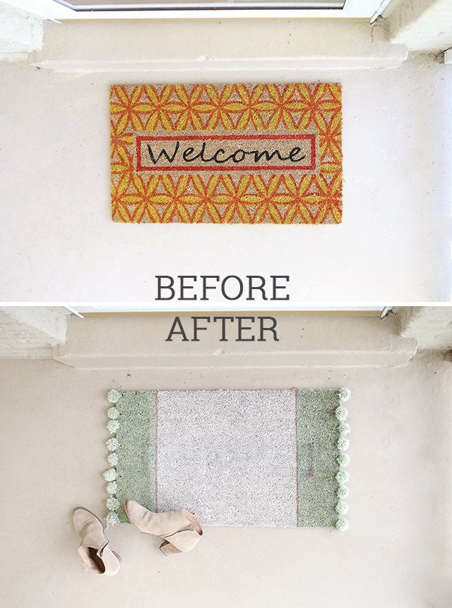 Rug makeover with spray paint - great idea for cheap rugs!