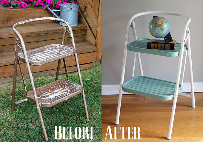 Amazing step stool transformation using spray paint!