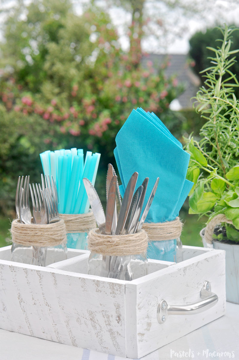 DIY utensil caddy with mason jars perfect for spring and summer