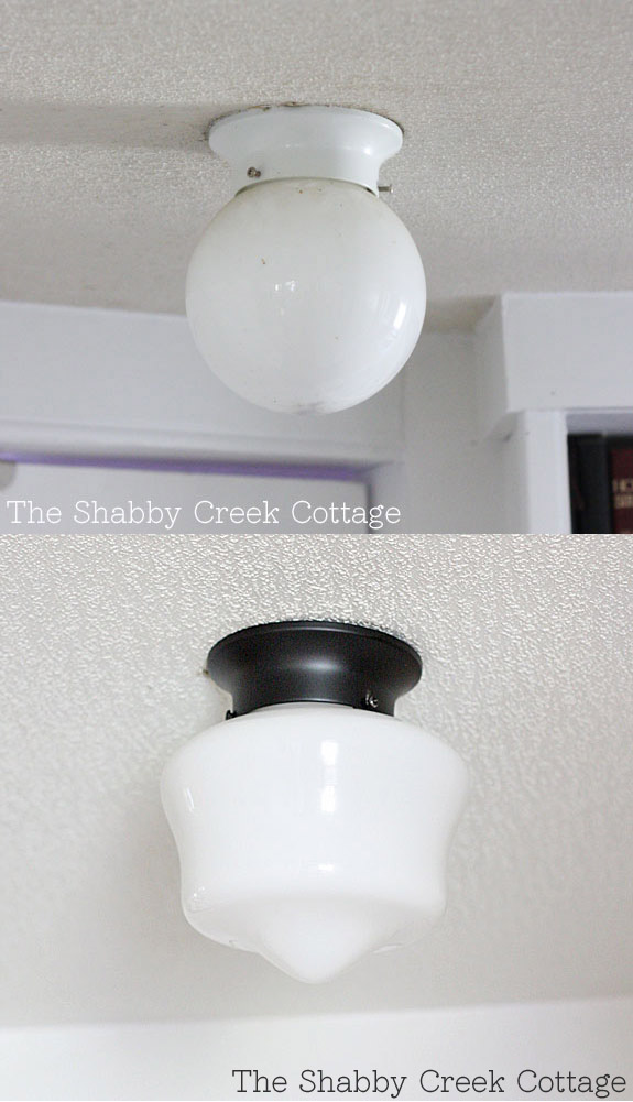 Spray paint + a new globe = a $5 farmhouse style light makeover