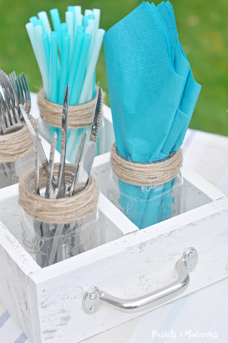 Learn how to make your own Mason Jar DIY utensil caddy perfect for barbecues or if you lack kitchen storage.