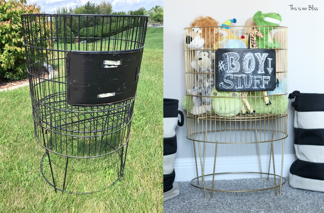 Great makeover with spray paint - a thrift store basket turned toy bin.