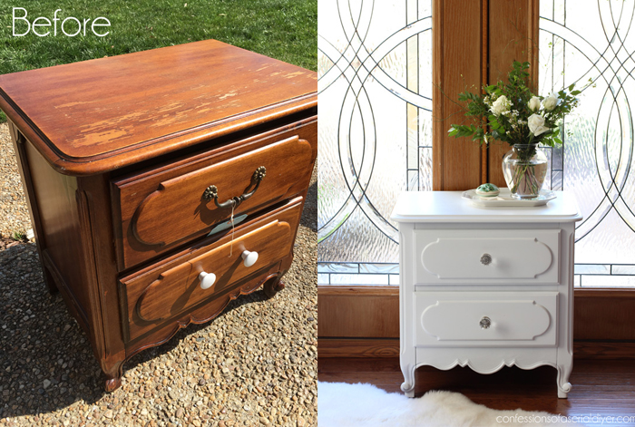 beautiful night stand makeover - and she did it with spray paint!