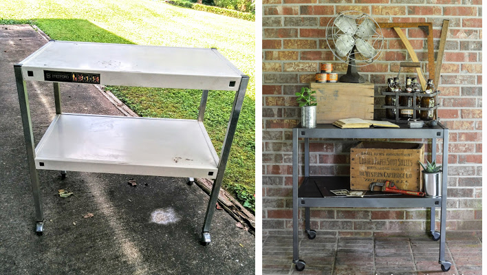 Take a yard sale cast off and turn it into a farmhouse style bar cart with just a little spray paint!