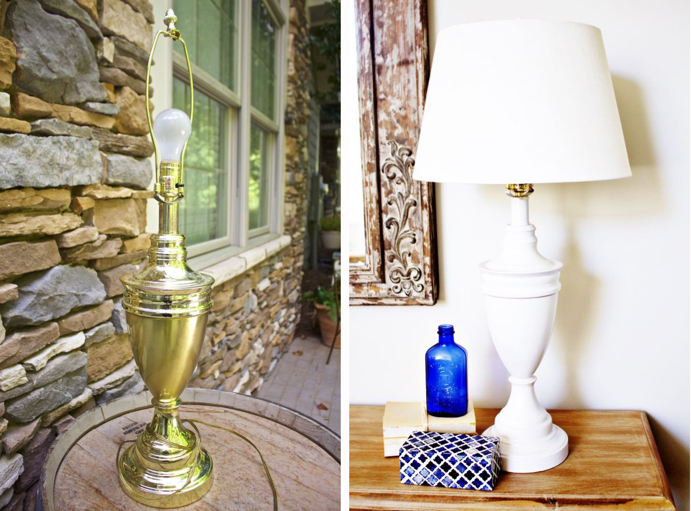Awesome spray paint makeovers - This brass lamp looks so much better!