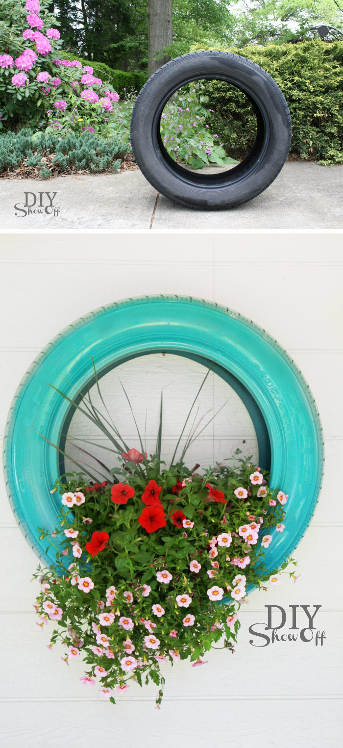 Spray painted tire planter - so easy yet so pretty!