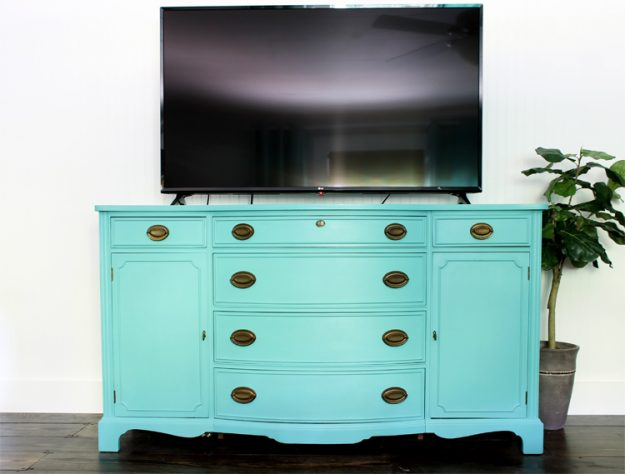 beautiful Duncan Phyfe bow front buffet makeover