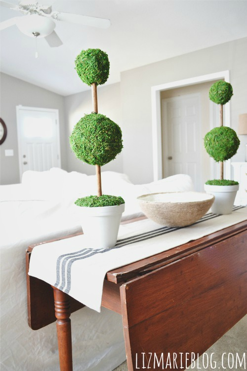 Cute moss topiaries - you could totally make this from stuff from the dollar store. Tons of great farmhouse decor inspiration made from dollar tree items