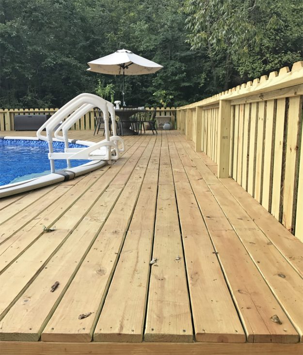 Above ground pool deck makeover with Thompson's WaterSeal