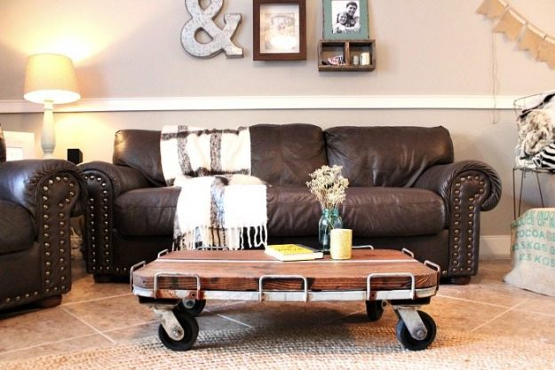 Debbie Found An Old Metal Cart And It Inspired Her To Build This Industrial  Style Rustic Coffee Table.