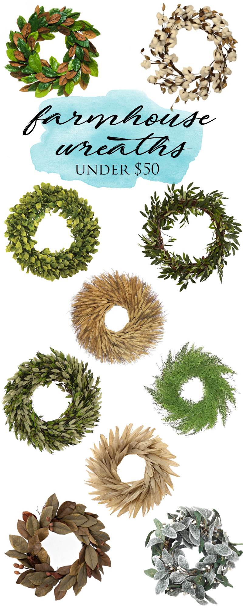 So many gorgeous farmhouse wreaths under $50!