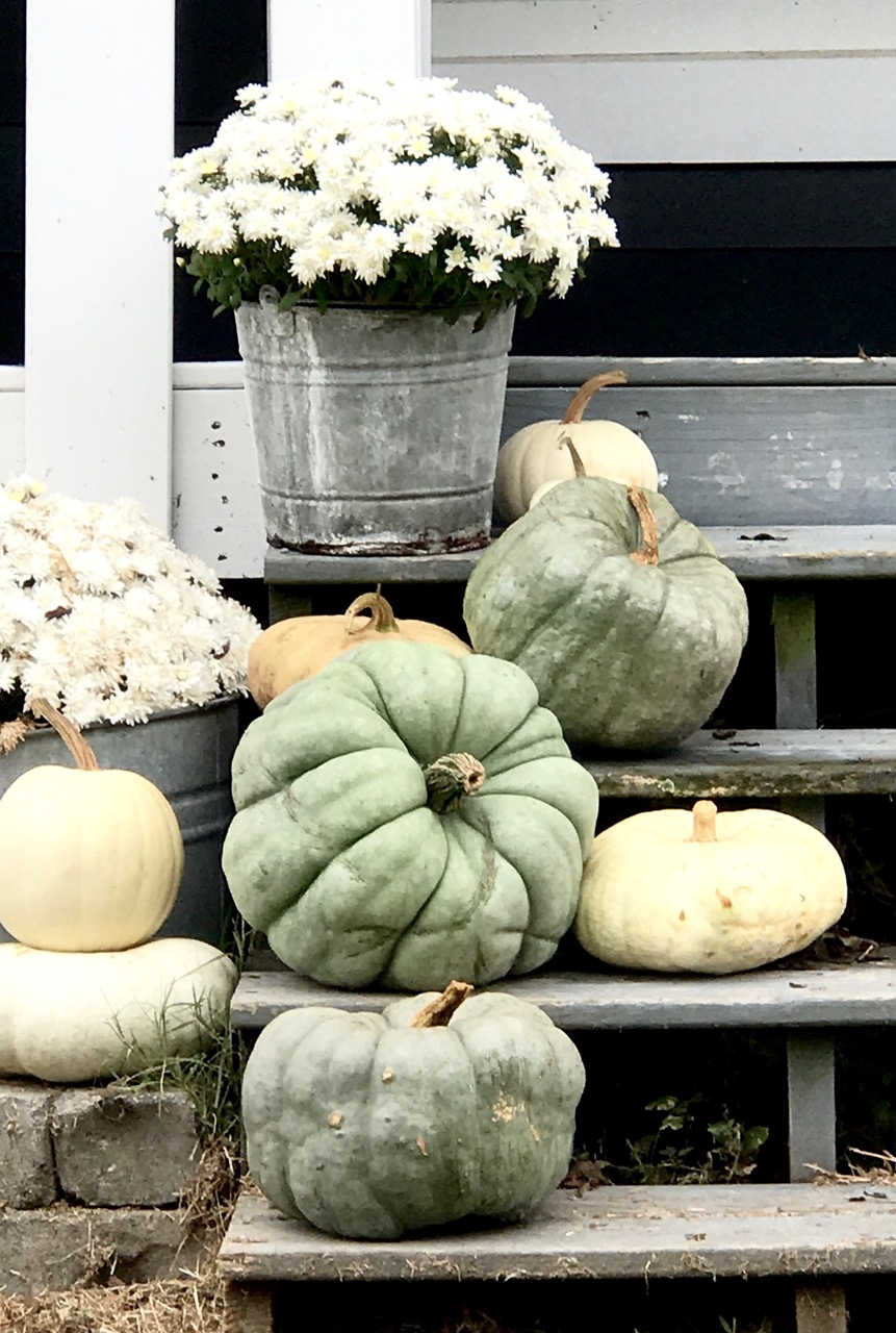Vintage Farmhouse Front Porch Steps for fall