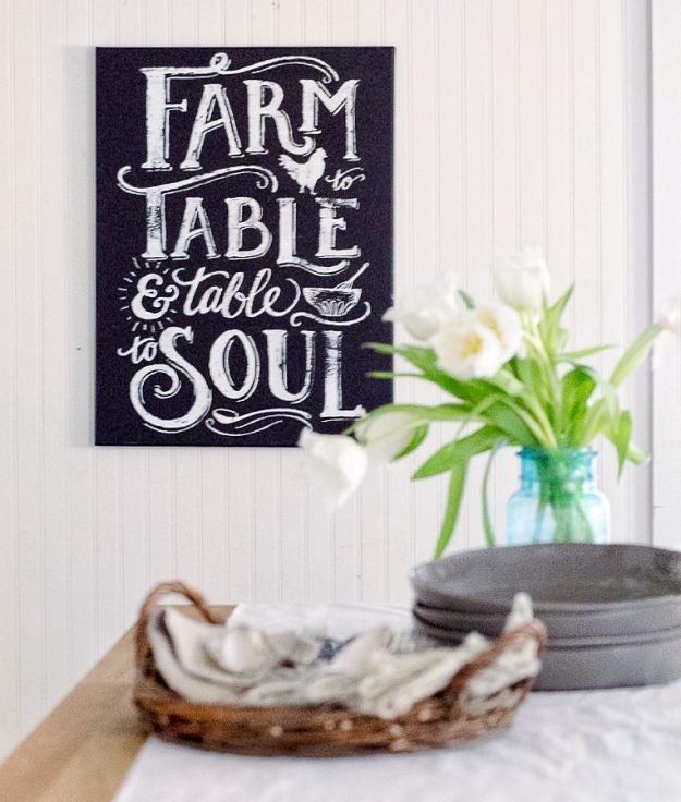 Make this quick and easy farmhouse kitchen decor sign in just a few minutes - it looks so professional!