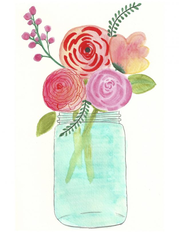 graphic regarding Free Printable Flowers referred to as Watercolor Bouquets inside a Mason Jar - Totally free Printable Down load